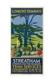 Streatham Common and the Rookery, London County Council (LC) Tramways Poster, 1927 Giclée-tryk af Tony Castle