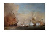 Pirates Attacking a British Navy Ship, 17th Century Giclee Print by Willem Van De Velde The Younger