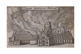 St Paul's Cathedral, London, on Fire, 1666 Lámina giclée por Wenceslaus Hollar