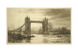 Tower Bridge Viewed from the River Thames, London, C1894-1931 Giclee Print by William Lionel Wyllie