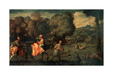The Flight into Egypt, C1508 Giclée-tryk af Titian (Tiziano Vecelli)