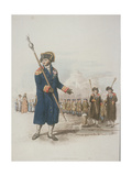 Parish Beadle in Civic Costume Holding a Staff, 1805 Giclee Print by William Henry Pyne