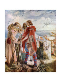 Egfrith Offering the Bishopric of Hexham to Cuthbert, 678 Giclee Print by William Bell Scott