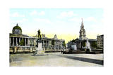 Gordon's Statue and National Gallery, Trafalgar Square, London, 20th Century Giclee Print