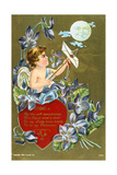 Cupid Shooting an Arrow Carrying a Love Letter, American Valentine Card, 1908 Giclee Print