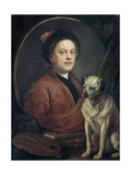 The Painter and His Pug , 1745 Giclée-tryk af William Hogarth