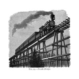 Train Crossing a Wooden Trestle Bridge on the Union Pacific Railroad, Wyoming, USA, C1870 Giclee Print