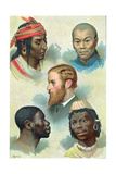 Five Types of the Human Race, Late 19th Century Giclee Print
