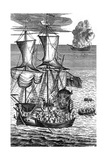 Robinson Crusoe Saves the Crew of a Ship on Fire at Sea, C1719 Giclee Print