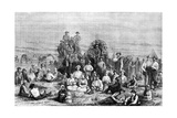 An Encampment of Mormon Converts in the Desert, C1846 Giclée-tryk