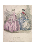 Two Women and a Child Wearing the Latest Fashions, 1866 Giclee Print by Jules David