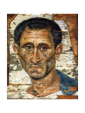Portrait of a Middle-Aged Man in a Blue Cloak, Romano-Egyptian Mummy Portrait, Late 1st Century Giclée-tryk