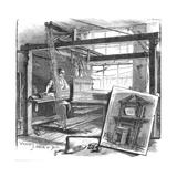 A Spitalfields Silk Weaver at His Hand Loom, 1884 Impression giclée