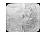 Harvard University Campus Map, Cambridge, Massachusetts, USA, Late 19th or Early 20th Century Giclee Print