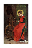 St Elizabeth of Hungary Spinning Wool for the Poor, 1901 Giclee Print by Marianne Stokes