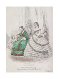 Two Women and a Child Wearing the Latest Fashions, 1861 Giclee Print by Jules David