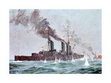 Battlecruiser HMS Lion Coming into Action, Battle of Jutland 31 May - 1 June 1916 Giclee Print