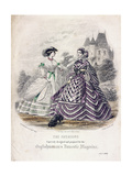 Two Women Wearing the Latest Fashions in an Outdoor Setting, 1860 Giclee Print by Jules David