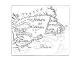 Old Map of Acadia, 17th Century Giclee Print