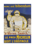 Poster with Mr Bibendum Advertising Michelin Tyres Giclee Print