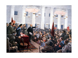 Lenin Haranguing Deputies of the 2nd Soviet Congress, Smolny Palace, St Petersburg, 1917 Giclee Print