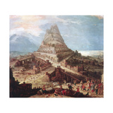The Building of the Tower of Babel, 16th Century Giclee Print