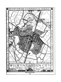 Map of Welwyn Garden City, Hertfordshire, England, 1926 Giclee Print