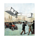 Santos-Dumont Making the First Powered Plane Flight in Europe, Paris, 1906 Giclee Print