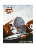 Poster Advertising Bugatti Cars, 1939 Giclee Print