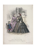 Two Women and a Child with a Dog Wearing the Latest Fashions, 1860 Giclee Print by Jules David