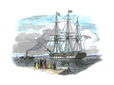 British Emigrant Ship Being Towed Out of Harbour before Setting Sail for Sydney, Australia Giclee Print