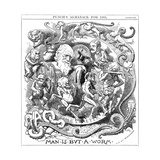 Man Is But a Worm, Cartoon from Punch Showing Evolution from Worm to Man, 1881 Giclée-tryk