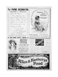 An Advertising Page in the Illustrated London News, Christmas Number, 1896 Giclee Print