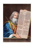 Moses with the Ten Commandments, Mid 19th Century Giclée-tryk