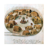 Native American Algonquin Indian Village, 1585 Giclee Print