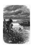Traders on the Ohio River Attacked by Native Americans, 18th Century Giclee Print