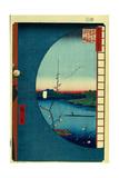 View from Massaki on the Grove Near Suijin Shrine, the Uchigawa Inlet and Sekiya Village Giclee Print by Utagawa Hiroshige
