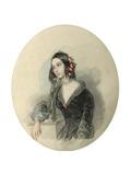Portrait of the Poetess Yevdokiya Rostopchina, (1811-185), 1846 Giclee Print by Pyotr Fyodorovich Sokolov
