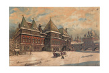 Okhotny Ryad (Hunting Ro) Street with the Palace of Prince Golitsyn and Boyar Troyekurov, 1930 Giclee Print by Dmitry Petrovich Sukhov