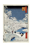 Yuhi Hill and the Drum Bridge at Meguro (One Hundred Famous Views of Ed), 1856-1858 Giclee Print by Utagawa Hiroshige