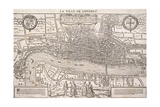 Map of the City of London and City of Westminster with Four Figures in the Foreground, C1572 Giclee Print by Franz Hogenberg