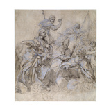 Sketch of a Fresco for the Santa Maria Del Popolo Church in Rome Giclée-tryk af Carlo Maratta
