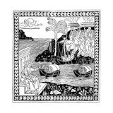 Christopher Columbus 'Discovering America, Woodcut, 1493 Giclee Print