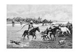 Kyrgyz Crossing a River, Kyrgyzstan, 1895 Giclee Print