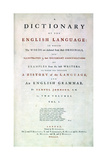 Samuel Johnson's Dictionary of the English Language, 1755 Giclee Print