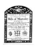 Bills of Mortality Bill for London, Covering Part of the Period of the Great Plague, 1664-1665 Giclee Print