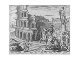The Colosseum at Rome after Maarten Van Heemskerck, 1572 Giclee Print by Philipp Galle