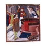 Dyers Immersing Bolt of Cloth in Vat of Dye Placed over a Fire, 15th Century Giclee Print