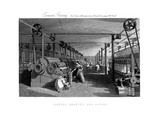 Carding, Drawing and Roving Cotton, C1830 Giclee Print