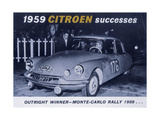 Poster Advertising the Citroën Monte Carlo Rally Winner, 1959 Giclee Print